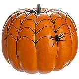 11''Hx12''W Artificial Weighted Spider Web Pumpkin w/Spider -Orange/Black (pack of 2)