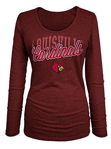 NCAA Louisville Cardinals Women's Tri Blend Long Sleeve U-Neck Tee, Medium, Heather Red (U Of Louisville Basketball)