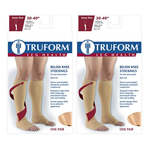 Truform Compression 30-40 Mmhg Knee High Open Toe Stockings Beige, X-Large - Short, 2 Count (40 Mmhg Beige Short)
