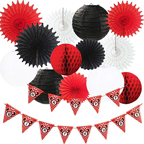 Minnie Mouse Party Decorations White Black Red Happy Birthday Banner Polka Dot/Minnie Mouse First Birthday Decorations Tissue Paper Fans Lanterns Mickey Minnie Mouse Party Supplies]()