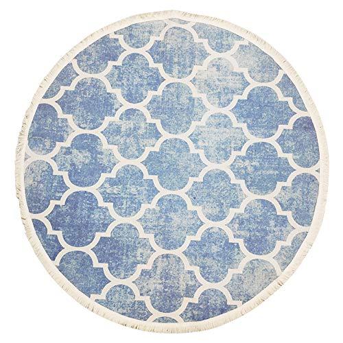(USTIDE 47-inch Hand Woven Round Area Rug, Blue Moroccan Print Tassels Throw Rugs Door Mat,Indoor Floor Area Rugs Blanket Bedroom/Living Room/Children Playroom)