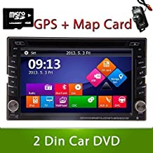 Ouku® Rear Backup Camera Included 2015 New Model Windos Win 8 UI Design 6.2-Inch Double-2 DIN In Dash Touch screen LCD Monitor with DVD/CD/MP3/MP4/USB/SD/AMFM/RDS/Bluetooth and GPS Navigation SAT NAV Head+Free Offical 4GB Card+Free US&Canada Map