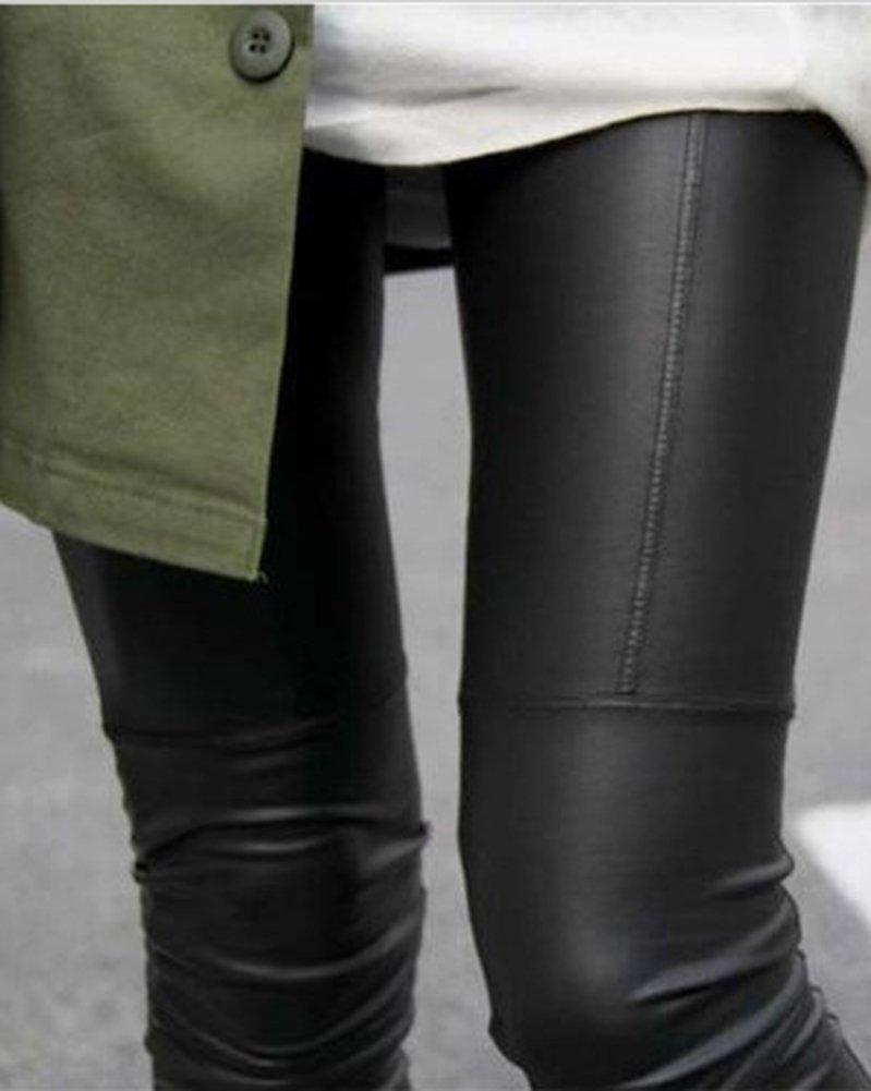 Mujer Color Sólido Skinny Pantalones Imitacion Cuero Leggings Push Up  Leggins Guiran 07ada7fb322b