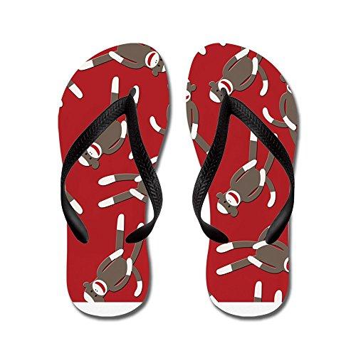 Cafepress Rode Sok Monkey Print - Flip Flops, Grappige Leren Sandalen, Strand Sandalen Zwart