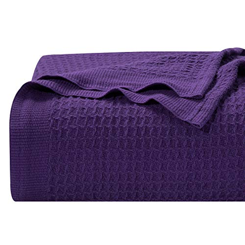 """Bedsure 100% Cotton Thermal Blanket - 405GSM Soft Blanket in Waffle Weave for Home Decoration - Perfect for Layering Any Bed for All-Season - Queen Size (90"""" x 90""""), Purple"""