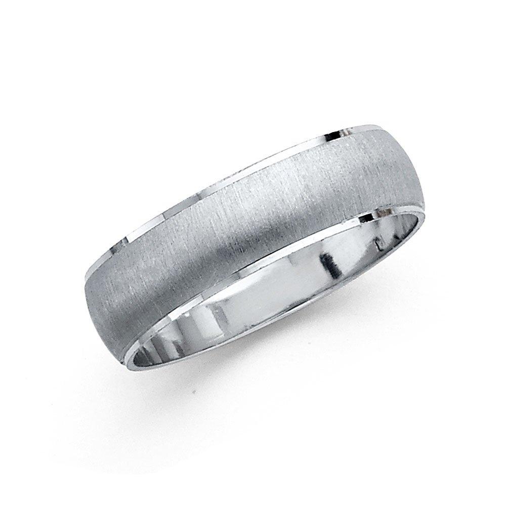 Wedding Band Solid 14k White Gold Ring Dome Style Satin Brushed Finish Polished Style 6 mm Size 10.5
