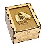 D&D Wood Dice Case DIY Puzzle Storage Box Carved with Dragon & D20 Perfect for RPG, DND, Board or Card Games