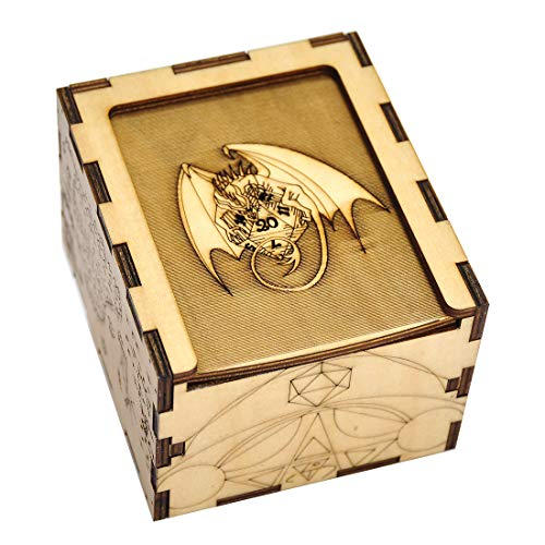 (D&D Wood Dice Case DIY Puzzle Storage Box Carved with Dragon & D20 Perfect for RPG, DND, Board or Card Games)