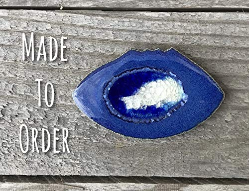 FOOTBALL Geode Crackle Magnet, Refrigerator Magnet, Custom Magnet, Dock 6 Pottery, Kerry Brooks Pottery