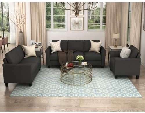 UNIROI Pieces Living Room Couch, 3 Seats Loveseat Single Chair Sofa Set, Black 2