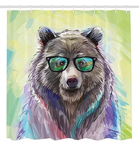 Bear Shower Curtain, Extra Heavy Duty Shower Curtain, Trendy Bear With Glasses With Fluffy Colorful Fancy Shower Curtain