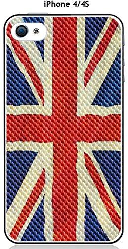 Cover Apple iPhone 4/4S Design Bandiera Gran Bretagna Vintage effetto carbonio