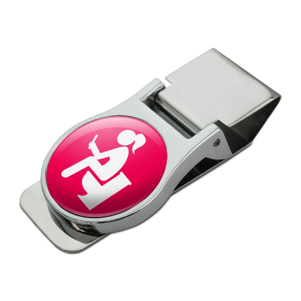 Girl Poop Pooping Sitting on Toilet Funny Satin Chrome Plated Metal Money Clip