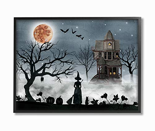 The Stupell Home Décor Collection Halloween Witch Silhouette in Full Moon Haunted House Scene Framed Giclee Texturized Art, 11 x 14, -