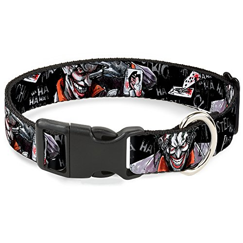 Buckle-Down Plastic Clip Collar - Joker BRILLIANTLY TWISTED PSYCHO 2-Poses/Cards Black/Grays - 1