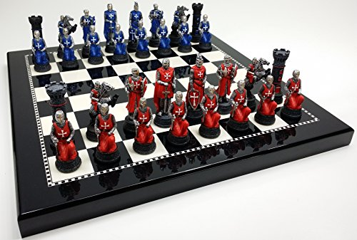 Medieval Times Crusades Red & Blue Chess Set Hand Painted w/ Black & White Gloss Board