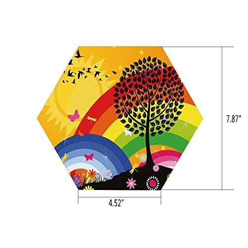 (PTANGKK Hexagon Wall Sticker,Mural Decal,Rainbow,Silhouette of a Tree on Hill with Sun and Two Rainbows Spring Time Flowers Decorative,Marigold Multicolor,for Home Decor 4.52x7.87 10)