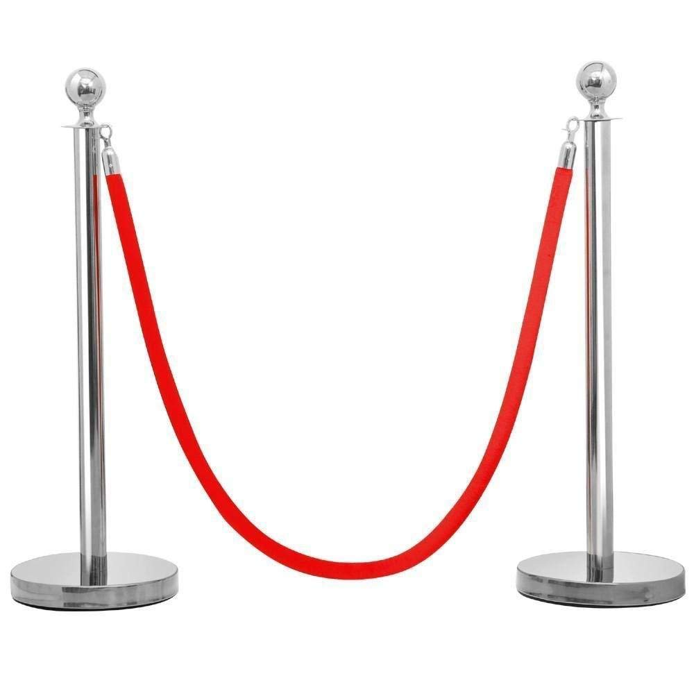 KCHEX>>>6Pcs Stanchion Posts Queue Pole Retractable 3 Velvet Ropes Crowd Control Barrier>Description This is our top stainless steel stanchion posts is anti-rust and flawless and the poles nice