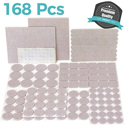 Seat Oatmeal Cushions (PREMIUM Furniture Pads Set 168 Pcs Value Pack Beige - Heavy Duty Adhesive Felt Pads for Furniture Feet, Assorted Sizes with Noise Dampening Clear Rubber Bumpers. Protect Hardwood & Laminate Flooring)