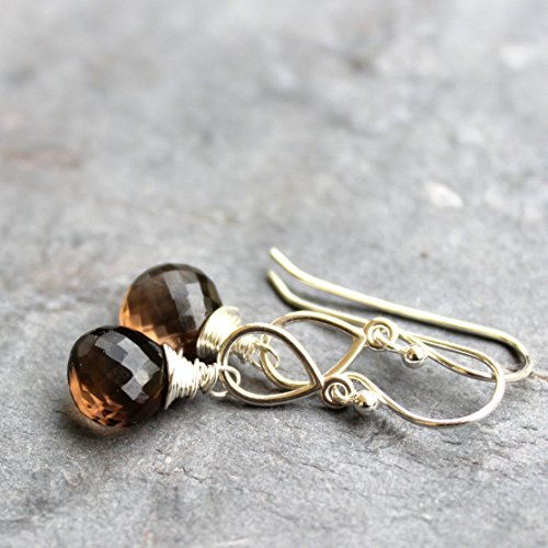 Smoky Quartz Earrings Sterling Silver Teardrops Brown Faceted Gemstone Briolettes