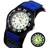 Kid's Luminous Watch Vinmori Nylon Strap Waterproof Quartz Luminous Dial Watch Gift for Kids Children Boys Girls