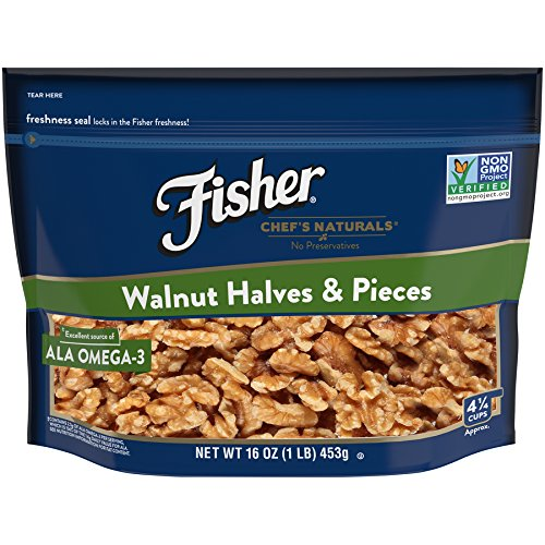 - FISHER Chef's Naturals Walnut Halves & Pieces, No Preservatives, Non-GMO, 16 oz