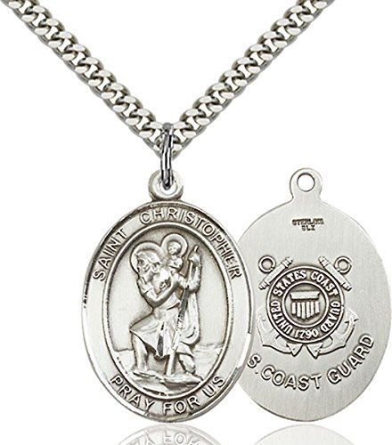 Sterling Silver Saint Christopher Coast Guard Medal Pendant, 1 Inch