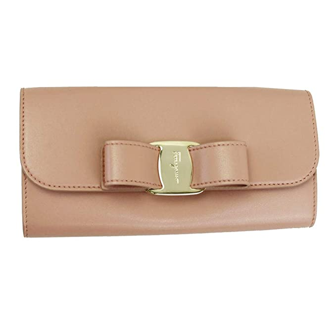 9330a4d0bc Salvatore Ferragamo Vara Pink Leather Bifold Long Wallet 22D269 Antique Rose   Amazon.ca  Clothing   Accessories