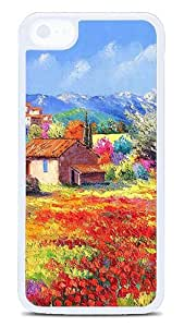 5C Cases, iPhone 5C Protective Case - Country Style Painting White Plastic Hard Case Cover Skin for Apple iPhone 5C