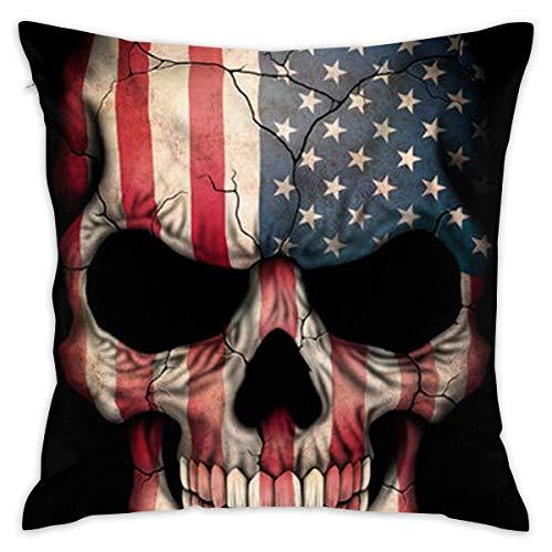 Elsaone Peluche Corto Suave Decorativo Cuadrado Bandera Americana cráneo Throw Pillow Cover Funda de cojín Funda de Almohada para sofá Dormitorio ...
