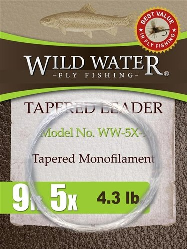 Wild Water Fly Fishing Tapered Leader-5X, 9', 6 Pack