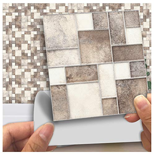 (APSOONSELL Mosaic Self Adhesive Wall Tile Peel and Stick Backsplash for Kitchen,Square Stitching Tile(18pcs,3.94