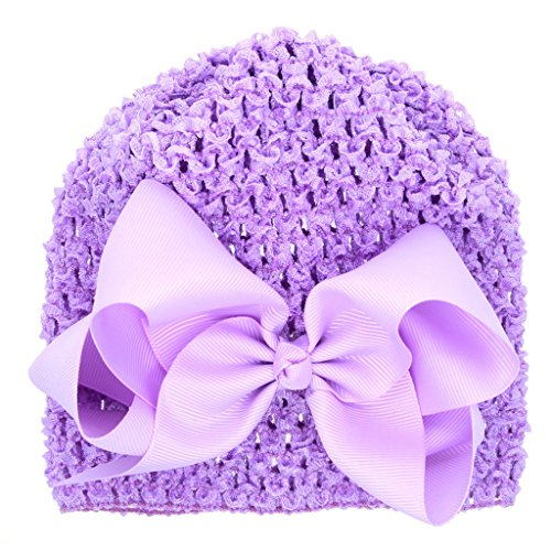 (Toddler Young Girl Hollow Knit Crochet Waffle Stretch Caps Purple Beanies Hat With Big Bow)