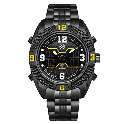 LEAP X PIONEERS Men's Waterproof Sport Dual Watch Backlight Wrist Watch with Stainless Steel Band Yellow FLPB36GBBY (Wrist Watch Steel Stainless Yellow)