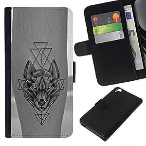 KLONGSHOP // Tirón de la caja Cartera de cuero con ranuras para tarjetas - lobo polígono tatuaje libertad de la piel de tinta - HTC Desire 820 //