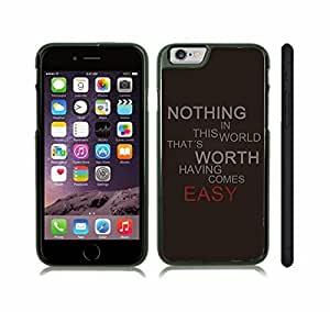 """iStar Cases? iPhone 6 Case with """"Nothing in this world that's worth having comes easy"""" Motivational, Grey and Red Font on Black , Snap-on Cover, Hard Carrying Case (Black)"""