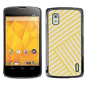 FlareStar Colour Printing Yellow Golden Tiles Yellow Bling Lines cáscara Funda Case Caso de plástico para LG Google NEXUS 4 / Mako / E960