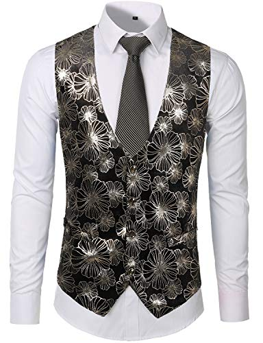 Single Floral - ZEROYAA Mens Hipster Metallic Silver Floral Single Breasted V-Neck Suit Vest for Tuxedo Silver Medium