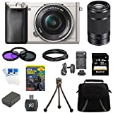 Sony Alpha a6000 24.3MP Silver Interchangeable Lens Camera w/ 16-50mm Zoom 32GB Kit Includes Camera, memory card, battery, gadget bag, and more (2 Lens Kit 16-50mm & 55-210mm (Black))