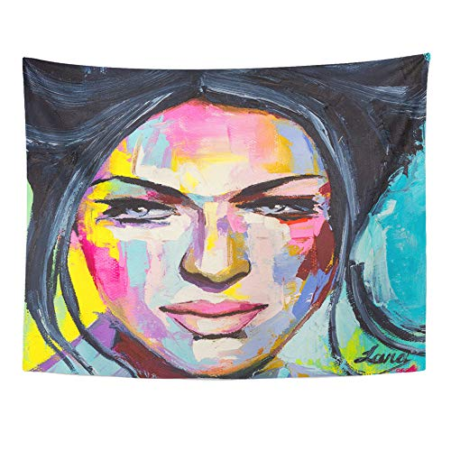 Emvency Tapestry Wall Hanging Fantasy Woman Portrait Done in Mixture of Pop and Abstract Styles Oil Painting 60