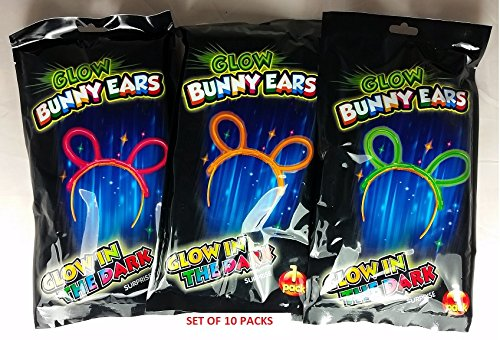 Set of 10 Pairs of Glow Bunny Mouse Ears Headbands Glow Sticks Individual Retail Pack Party Favor by (Glow Bunny Ears)