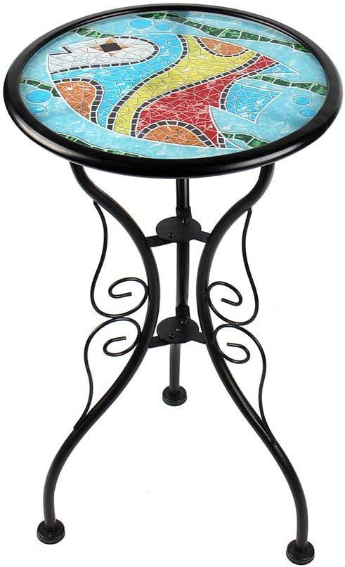 Liffy Fish Table d\'appoint Ronde en Verre Peint pour Jardin ...