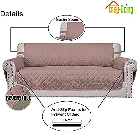 Oversized Sofa,Chocolate//Beige Easy-Going Sofa Slipcover Reversible Sofa Cover Furniture Protector Couch Cover with Elastic Straps for Pets/Kids/Children/Dog/Cat
