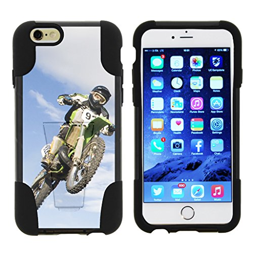 TurtleArmor | Compatible for Apple iPhone 6 Case | iPhone 6s Case [Gel Max] Hybrid Impact Proof Kickstand Case Silicone Hard Dual Cover Sports and Games Design - Motocross (Sprint Kids Bike)