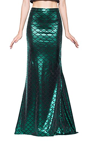 Jescakoo Ladies Sexy Prom Party Shiny Mermaid Costume Slim Fit Pleated Maxi Long Skirt (Ladies Mermaid Costume)