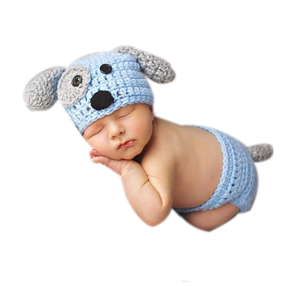 57b433319bfcf Newborn Baby Boy Photography Photo Props Outfits Crochet Knitted Doggy Hat  Pants