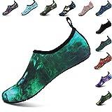 VIFUUR Unisex Quick Drying Aqua Water Shoes Pool Beach Yoga Exercise Shoes for Men Women Green Genius 42-43