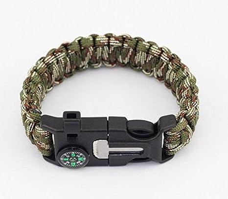 Pack de dos pulsera de supervivencia Paracord silbato Gear Flint arrancador de fuego Scraper Kits al aire libre (negro y verde), Style4