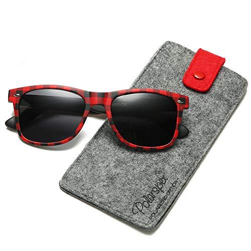 Polarspex Polarized 80's Retro Classic Trendy Stylish Sunglasses for Men Women (Buffalo Plaid | Smoke, ()