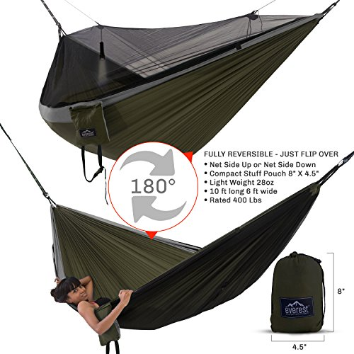 Everest Double Camping Hammock with Mosquito Net   Bug-Free Camping, Backpacking & Survival Outdoor Hammock Tent   Reversible, Integrated, Lightweight, Ripstop Nylon   Gray/Green/Net Black